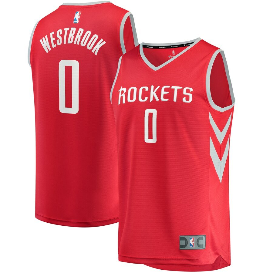 Russell Westbrook Jersey - Houston Rockets #0 Uniform in Orange White and Black