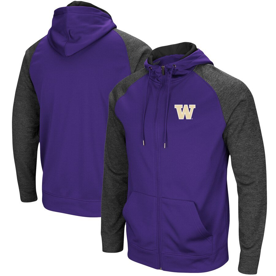 Washington Huskies Hoodies - Purple (Zip Closure)