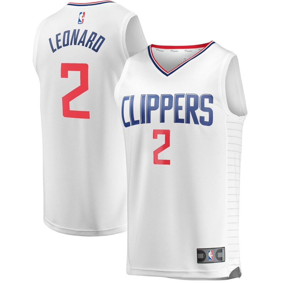 LA Clippers Jersey - Kawhi Leonard in White Blue and Black